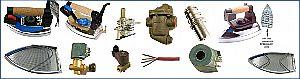 Bügeleisen, Teflonsohlen, Thermostate, Magnetventile, Microschalter, Daumentasten, Ersatzteile