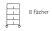 Sortierregalwagen incl. Etikettenrahmen 8 Fächer 290x340 mm, mit 5 Böden