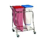 Edelstahl Wäschesammler  Konpakt Plus  mit 1 Schiebebügel u. 4 Stoßscheiben